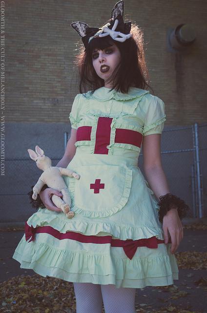 mint green medical nurse outfit lolita halloween gloomth