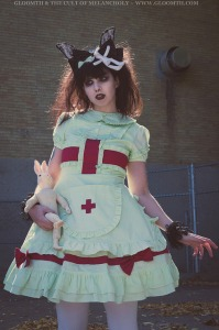 mint green lolita nurse outfit gloomth