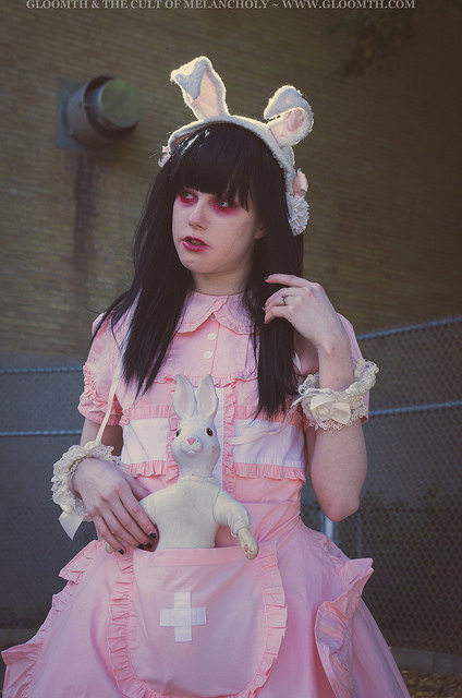 pastel pink lolita nurse outfit gloomth