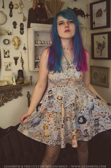 doilies and antique dolls print fabric dress