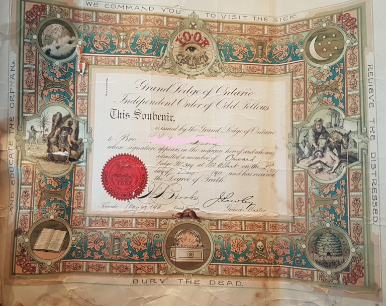 odd fellows memebership certificate 1911 toronto canada