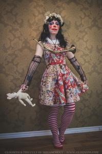 antique clown outfit print skater dress