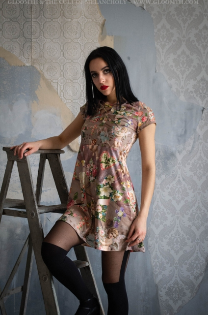 cherubs and angels and floral crosses print summer dress by gloomth
