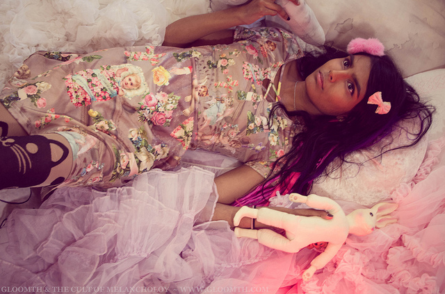 pastel grunge dress with cherubs and floral memorial crosses by gloomth