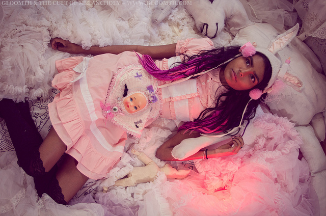 pink and white nurse dress lolita gloomth