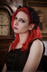 red hair gothic model in gloomth dress