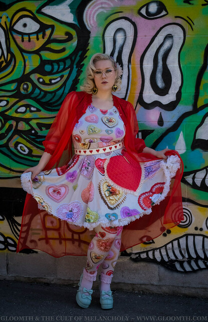 retro valentine heart candy box print dress kawaii outfit ...