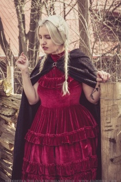 rustic farm witch with cape and red velvet blood colored dress gloomth