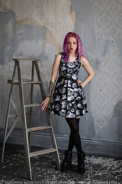 tea cup print party dress by gloomth
