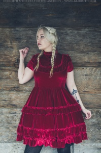 the vvitch witch photoshoot red velvet gothic dress