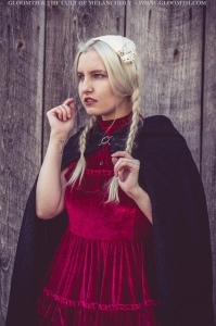 the vvitch witch photoshoot red velvet gothic prom dress
