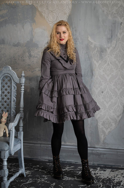 victorian grunge dress in grey cotton by gloomth
