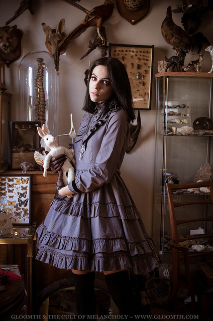 victorian mourning dress in dove grey by gloomth