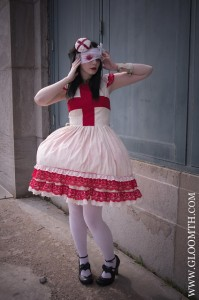 gurololita outfit with bloody bandages and red cross dress and white tights by gloomth