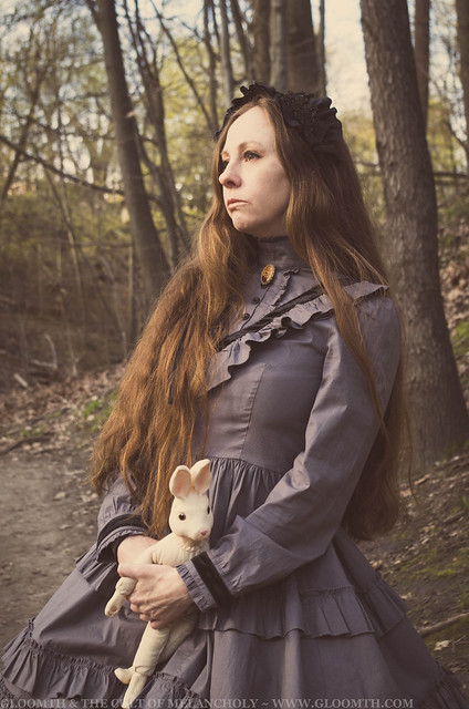 creepy victorian ghost girl in the forest