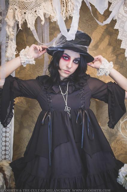 bat themed gothic dress