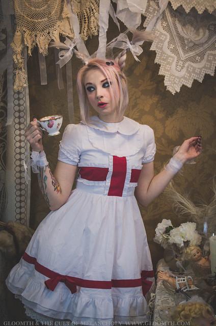 creepy white rabbit alice wonderland