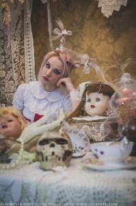creepy alice in wonderland tea party white rabbit