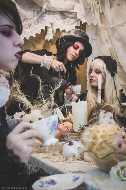 gothic alice in wonderland tea party photoshoot
