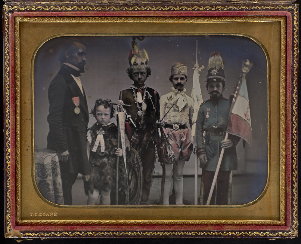 Daguerreotype of children in creepy costumes victorian
