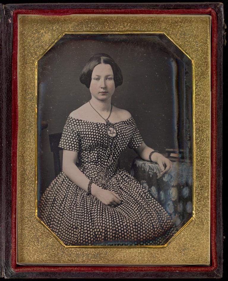 daguerreotype of victorian girl hand tinted