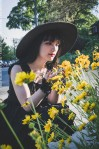 gothic girl with yellow flowers