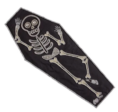 beaded skeleton table runner goth home decor