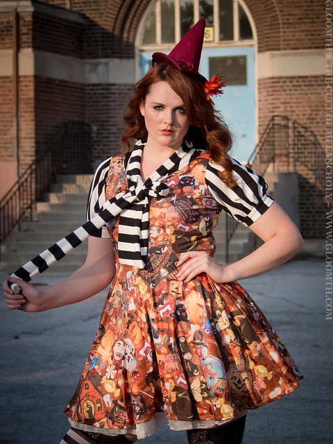 retro halloween fabric dress plus size