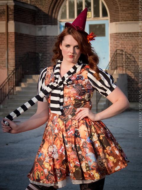 retro halloween fabric dress plus size