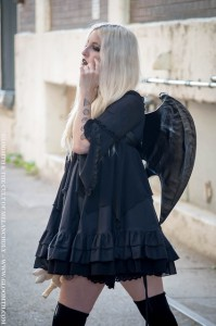 goth girl with bat wings