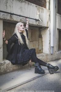 gothic girl in bat wing dress