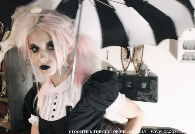 gothic halloween photoshoot with pink hair