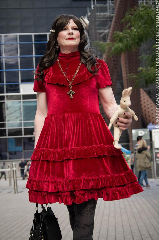 drag queen in red velvet gothic dress 2