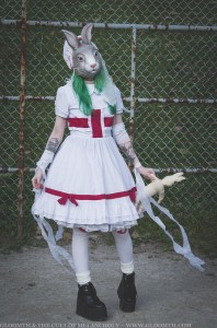 eerie bunny mask nurse lolita