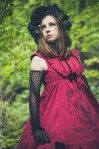gothic lolita in a red skull dress