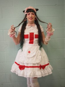 pink red and white lolita nurse outfit