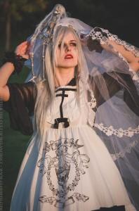 white mourning dress