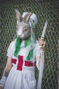 creepy bunny mask nurse with large kcreepy bunny mask nurse with large knifenife