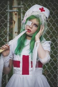 creepy nurse doll girl