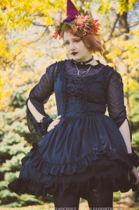 fall leaves gothic girl