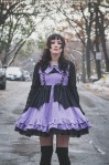 violet and black bat dress