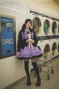 violet and black doll dress