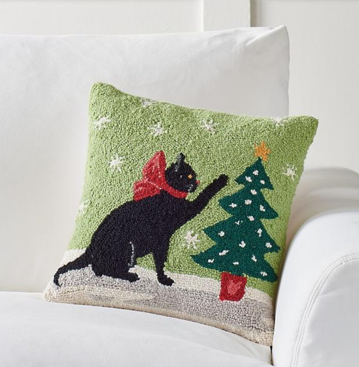 black cat gothic christmas pillow