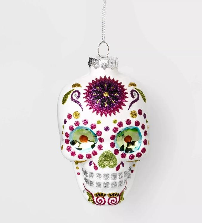 gothic skull xmas ornament