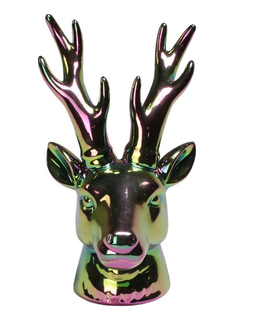 oil slick deer head antler gothic christmas decor