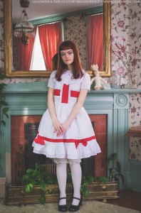 red and white medic lolita dress