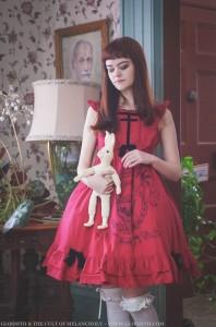 red skull printed dress