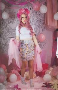 doilies and dolls print fabric skirt