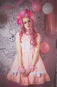 peach pink lolita dress
