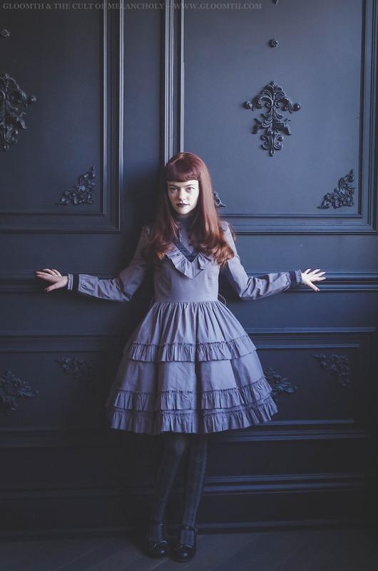 grey gothic lolita dress